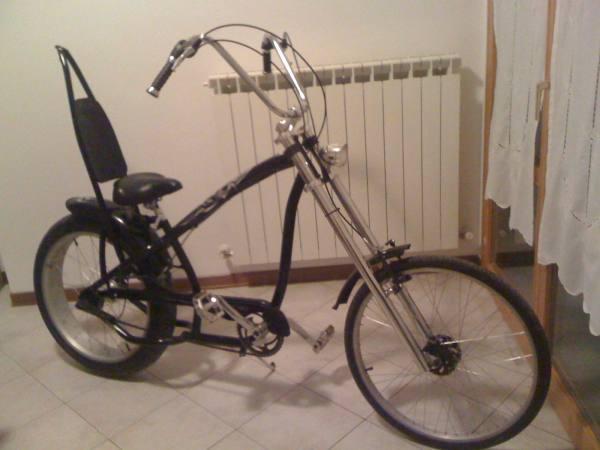 Chopper Bike Bicicletta Nera Customizzata Bici Custom Modello