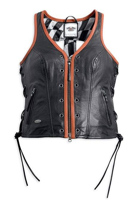 best service 35b29 de6e5 Gilet in Pelle Da Donna Harley-DavidsonŸ Racer Black/Orange ...